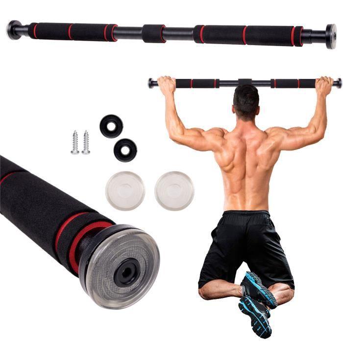 SPRINGOS® Barre de traction 80 à 130 cm avec poignées 200 kg