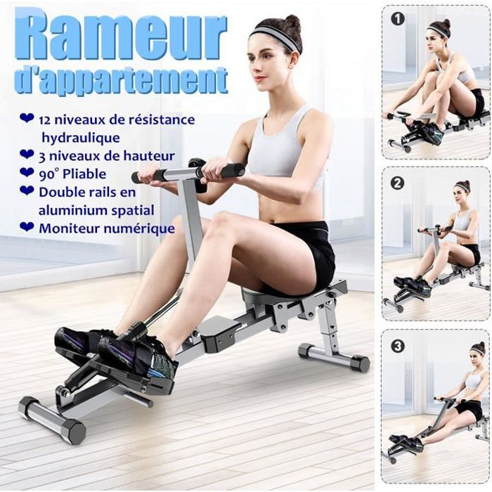 Rameur d'appartement Pliable - Double Rail en Aluminium - Machine à Ramer Résistance Équipement de Fitness Cardio Training