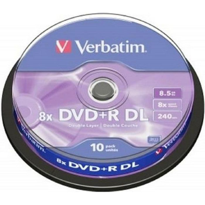 Verbatim DVD+R DL 8.5GO VIERGE X10 //Couche d'enregistrement AZO™