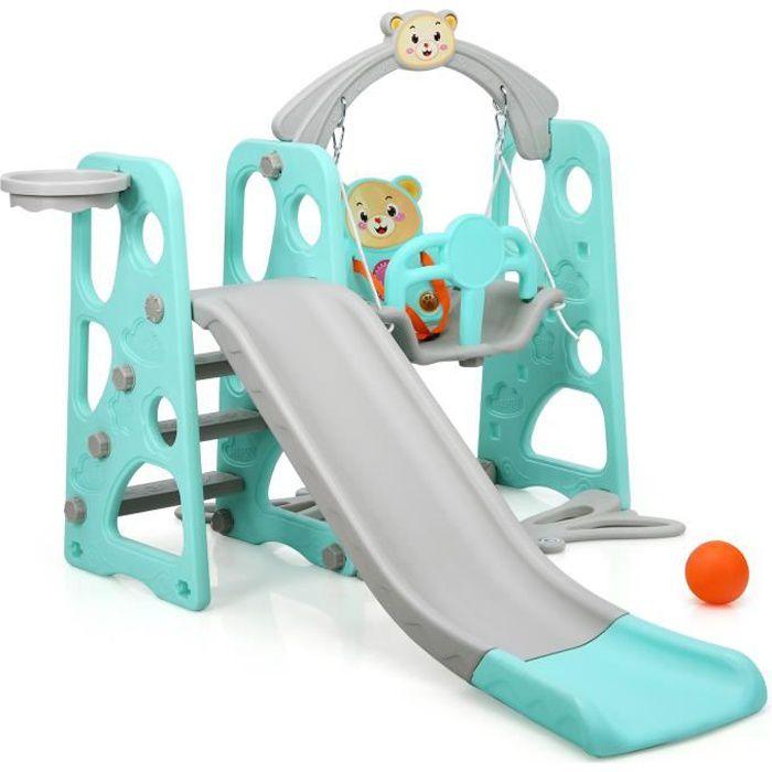 STATION DE JEUX COSTWAY Toboggan pour Enfants Aire de Jeux 3 en 1