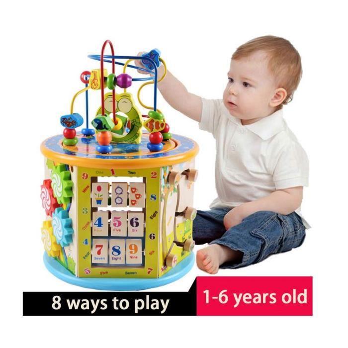 Cube D Activite En Bois 8 En 1 Jeu D Eveil Jouets Labyrinthe De