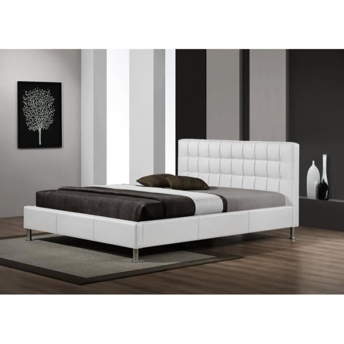 lit design maxi simili cuir blanc sommier 140x190 achat vente lit complet lit design maxi. Black Bedroom Furniture Sets. Home Design Ideas