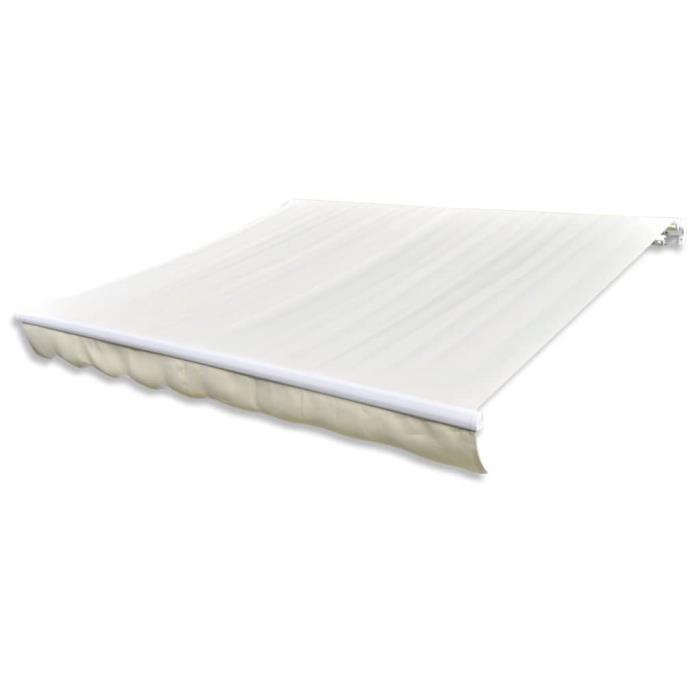 STORE - STORE BANNE  Store banne en toile Blanc crème 6 x 3 m (Cadre no