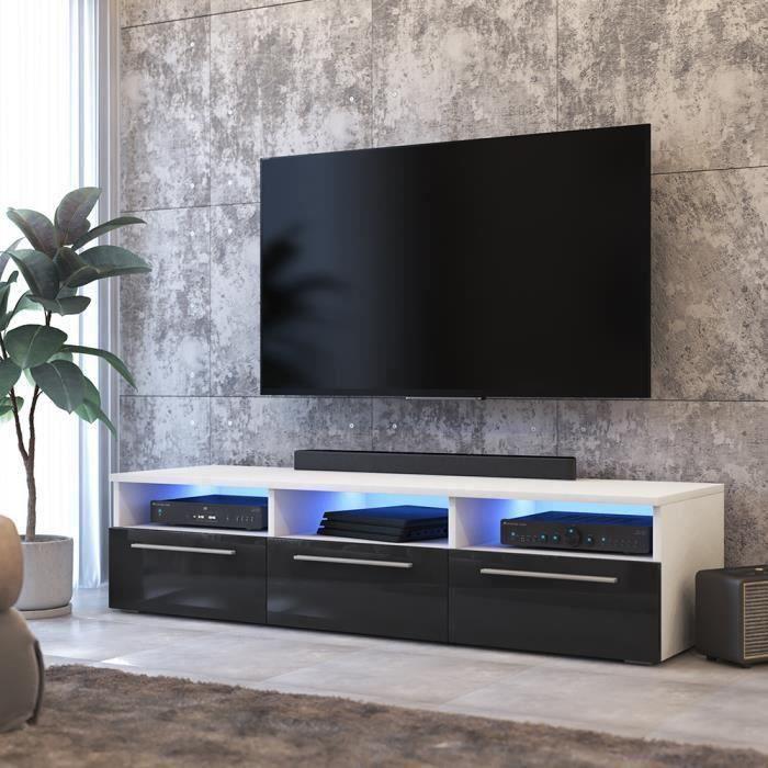 Meuble Tv Meuble Salon Lavello 140 Cm Blanc Mat Noir Brillant Avec Led Bleue Style Classique Et Moderne