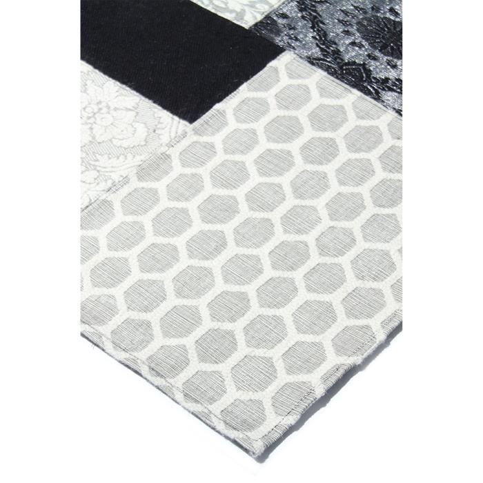 benuta tapis patchwork chenille noir blanc 160x230 cm achat vente tapis cdiscount. Black Bedroom Furniture Sets. Home Design Ideas