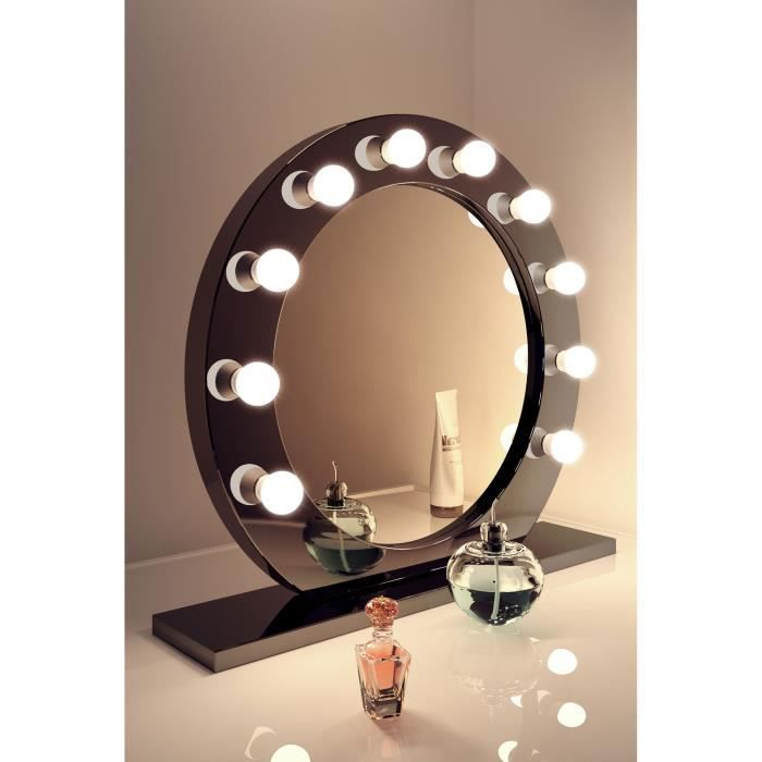 miroir de maquillage hollywood rond brillant noir lampes del blanc froid k249cw ampoules del. Black Bedroom Furniture Sets. Home Design Ideas