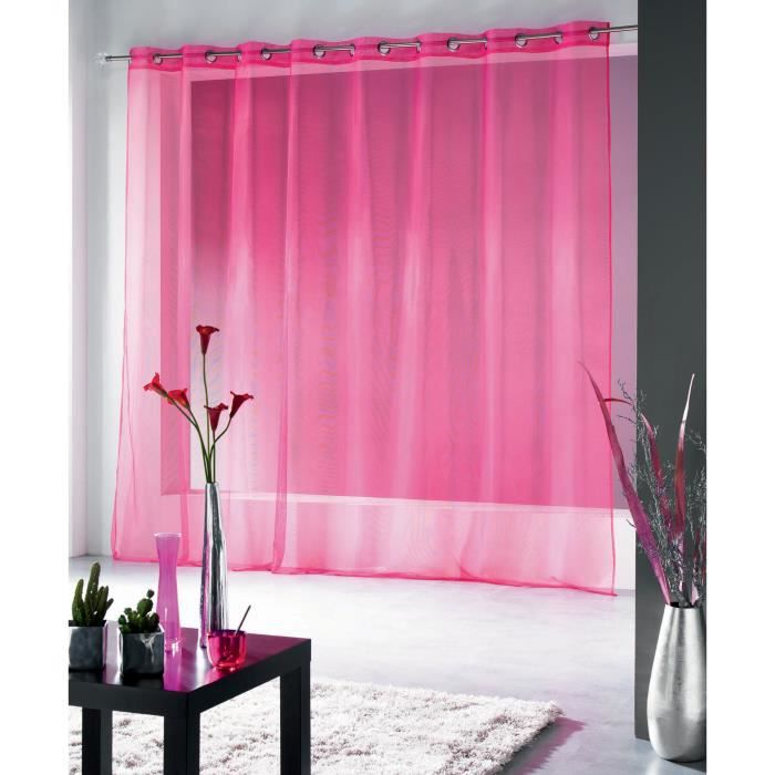 voilage oeillets grande largeur 300x240 finette fuchsia panneau voilage oeillets inox. Black Bedroom Furniture Sets. Home Design Ideas