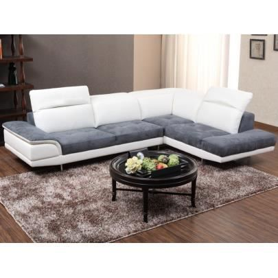 canap d 39 angle bimati re cuir et microfibre eclips achat vente canap sofa divan. Black Bedroom Furniture Sets. Home Design Ideas