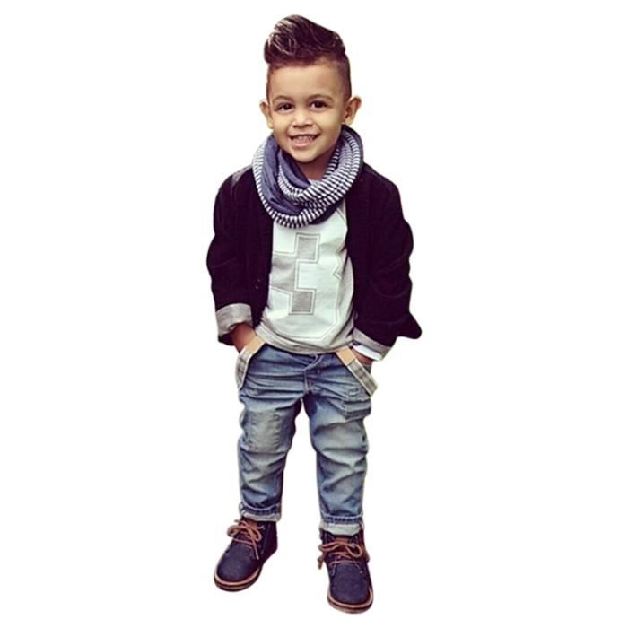 3 7 ans v tements enfants gar ons 3pcs ensemble tenue cool blouson noir jeans t shirt. Black Bedroom Furniture Sets. Home Design Ideas