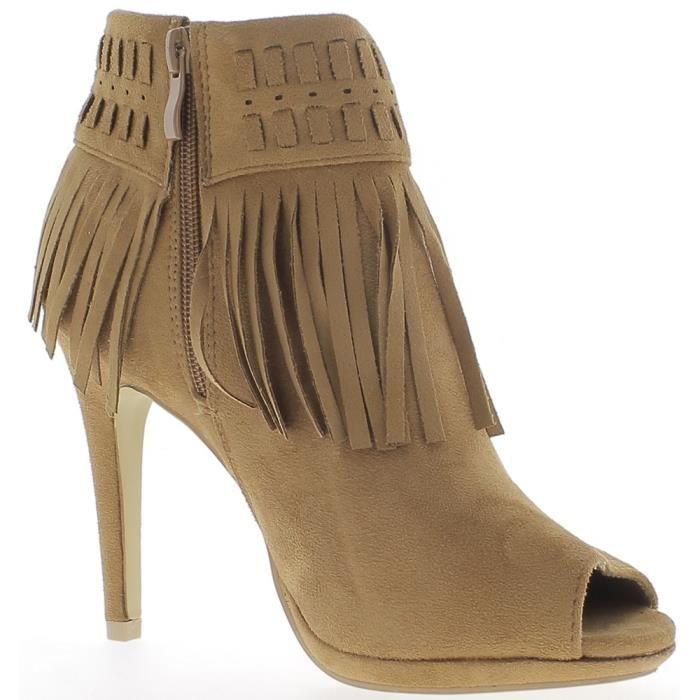 sélection premium divers styles styles classiques Bottines femme camel talons fins de 10,5cm ouvertes look daim et ...
