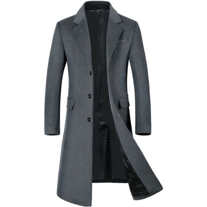 jtong caban homme hiver manteau long trench coat chaud veste slim fit casual en laine long style. Black Bedroom Furniture Sets. Home Design Ideas
