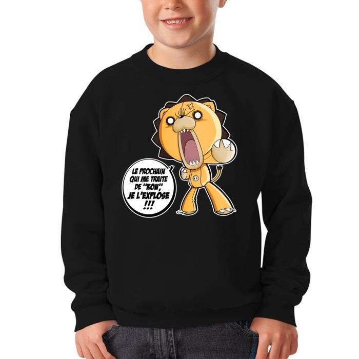 Pull Enfant Noir Bleach parodique Kon : Un nom difficile à porter :) (Parodie Bleach)