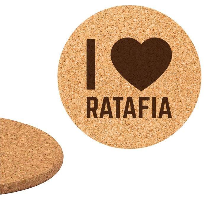 DESSOUS DE PLAT  Dessous de plat en liège 18cm gravé I love Ratafia