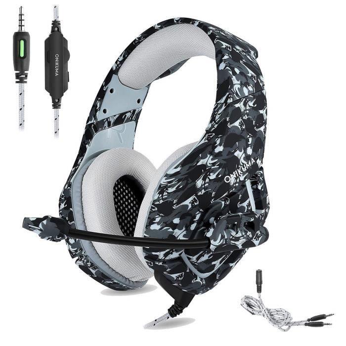 CASQUE AVEC MICROPHONE ONIKUMA Casque Gaming pour PS4 Xbox One, Camouflag