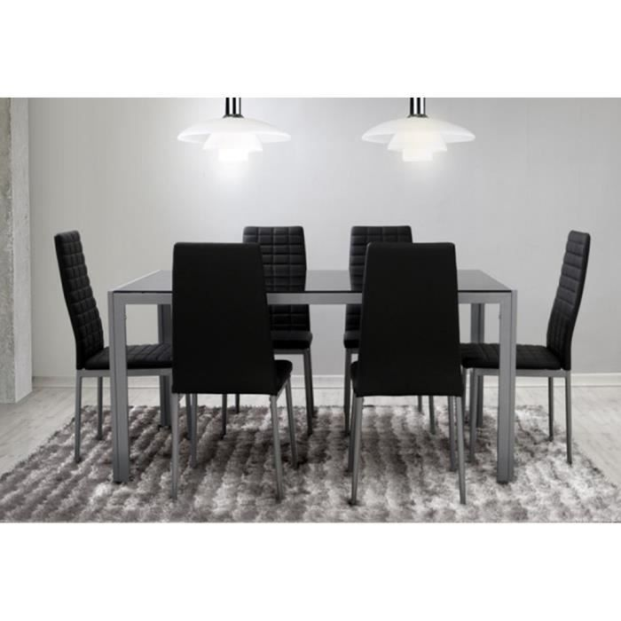 Ensemble salle manger 6 chaises table noir gris for Ensemble table et chaise noir