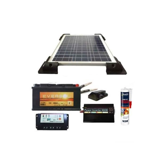 kit solaire pour camping car 80w 12v panneau batterie. Black Bedroom Furniture Sets. Home Design Ideas