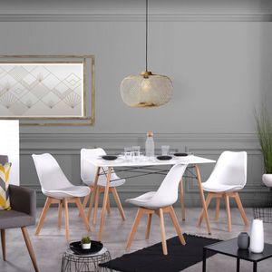 TABLE DE CUISINE  Table à manger pour 4 personnes + 4 chaises blanc-