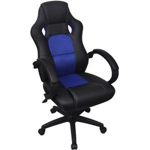 CHAISE DE BUREAU Chaise de Bureau Gamer Noir Et Bleu Fauteuil en si