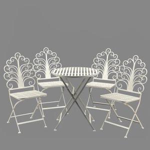 Salon de Jardin 4 Chaises 1 table d\'extérieur en fer Blanc ...