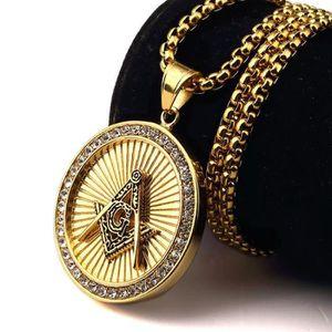 SAUTOIR ET COLLIER KING Charm 18K Plaqué Or Collier Freemason maçonni