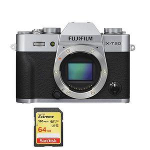 APPAREIL PHOTO RÉFLEX FUJI X-T20 Body Silver + 64GB SD card