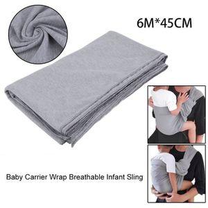 COUVERTURE - PLAID BÉBÉ 6mx45cm gris bébé écharpe extensible wrap support