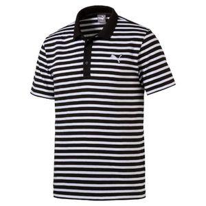 Puma Polo Striped Jersey 838250 01 Noir blanc Achat