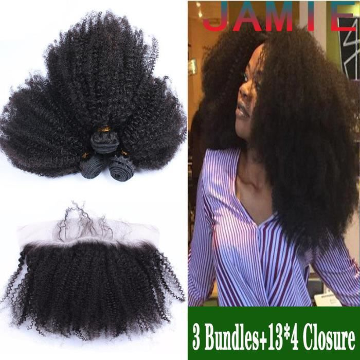 3 tissages bresiliens Afro Kinky Curly 18+18+18 pouces avec closure 13x4 JAMIE 16 pouces cheveux vierges huamins naturels