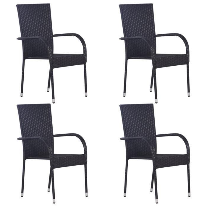 Lot de 4 Chaises de jardin fauteuils relax Chaises empilables d'extérieur 55,5 x 53,5 x 95 cm-Résine tressée Noir♫4655