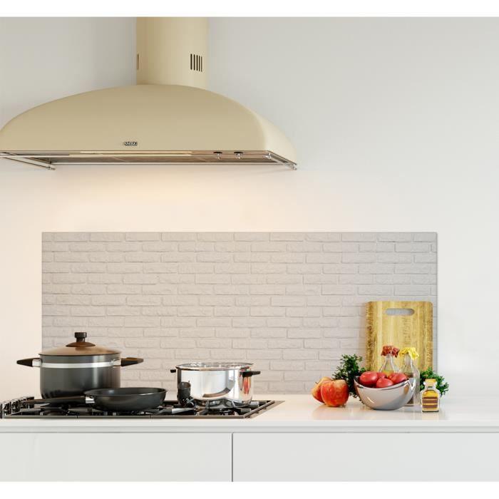 Crédence de cuisine adhésive en Panneau composite aluminium -Texture brique blanche- L. 120 x H. 50 cm