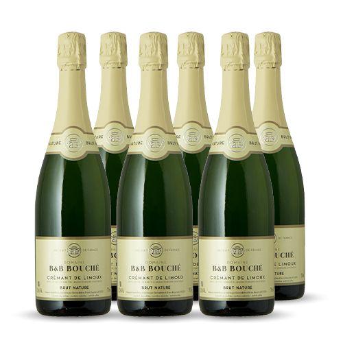 6 bouteilles - Vin blanc - Effervescent - Domaine B&B Bouché Crémant Brut Nature Limoux Blanc 6x75cl