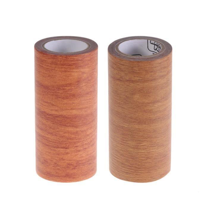 2PC Simulation ruban de grain de bois réparation d'embellissement hautement adhésif pour chaise de meubles de Table