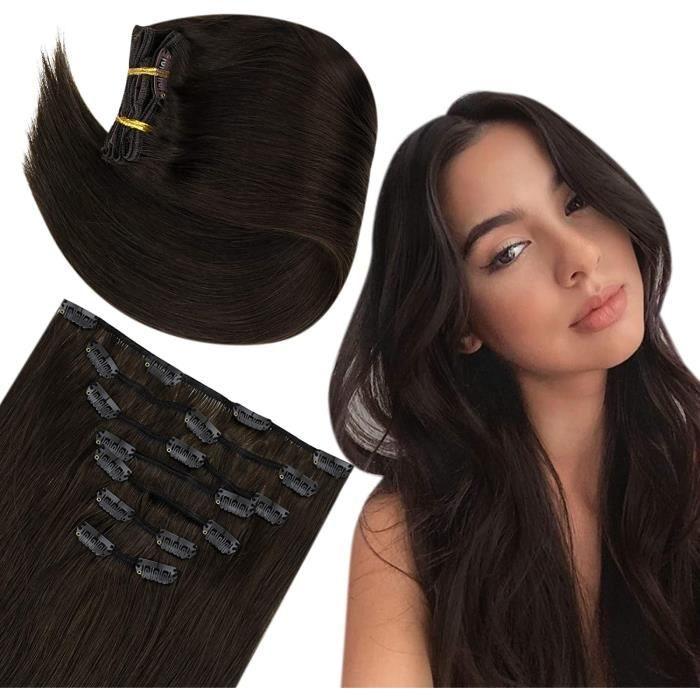 Extensions a Clip Cheveux Naturel Vrais Cheveux Extensions Humain Couleur Dark Brown Clip in Hair Extensions 12pouces 30cm 70g 7782