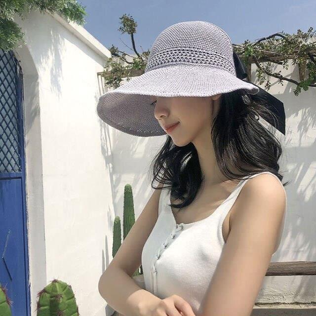 grey -Luna &amp Dolphin – chapeau de soleil pour femmes, pliable, de plage, noir, kaki, à grand bord, en paille, pour l'extérieur
