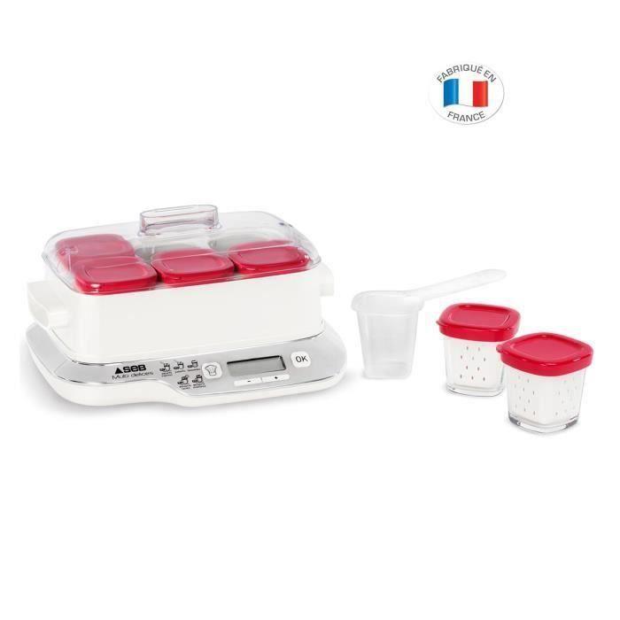 SEB YG660100 Yaourtière Multidélices Express Compact - 5 modes - 6 pots - Blanc et rouge