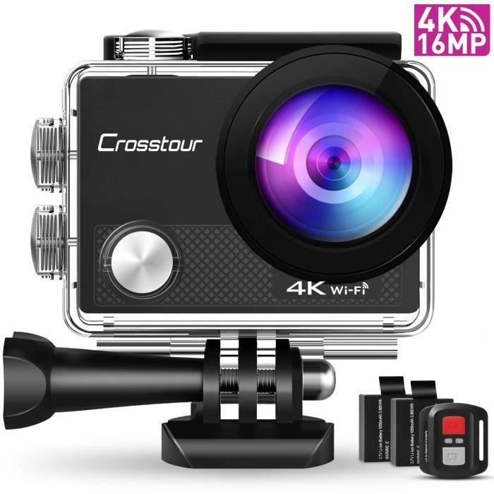 Crosstour Caméra d'action 4K 16 MP WiFi Caméra sous-Marine étanche 30 m avec télécommande 2 Piles et 19 Accessoires de Montage