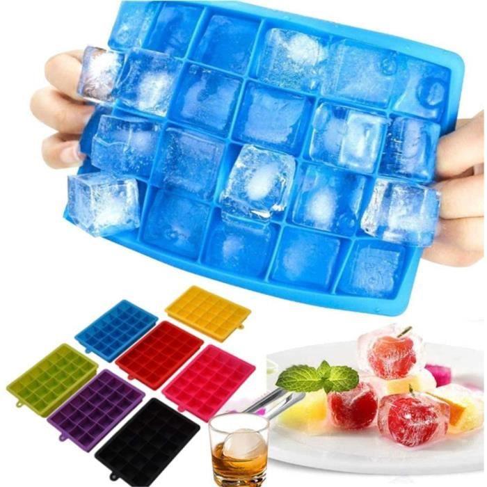 Bac À Glaçons Silicone Gros Glaçon avec Couvercle Set De 7 Démoulage Facile pour l'eau, Whisky, Gin, DIY, Cubes sans BPA Fête H 886