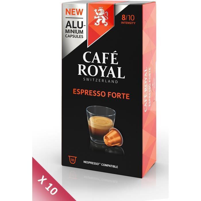 Lot de 10 CAFE ROYAL compatible Nespresso Alu Espresso Forte x10