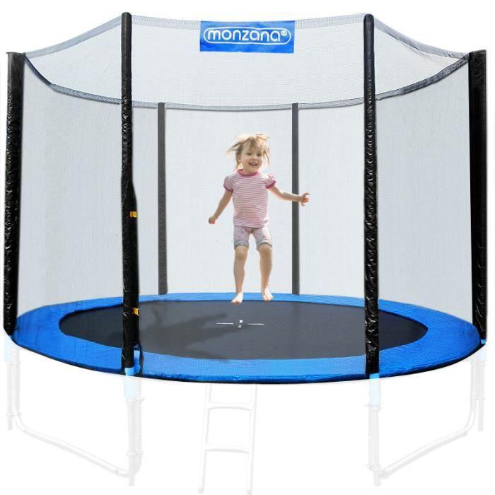 Filet de sécurité pour trampoline 6 poteaux - Réseau dense entrée fermable - Ø 244 cm