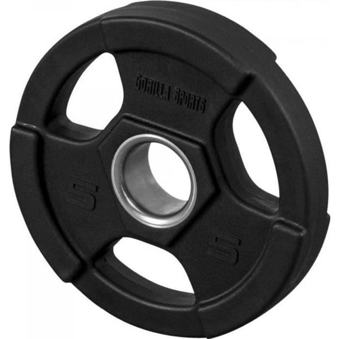 Gorilla Sports - Poids disques olympiques en fonte rêvetement caoutchouc avec anneau métalliquede 51mm - de 12,5 à 25 kg - 5 KG Noir