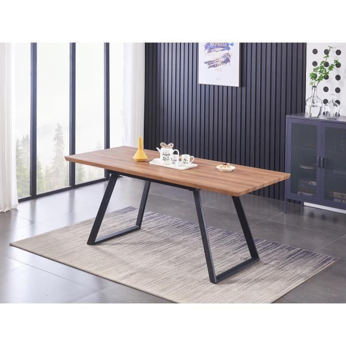 TOGA - Table à Manger Extensible Coloris Bois - Pieds en Métal - Style Contemporain - Salle à Manger, Cuisine