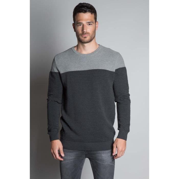 DEELUXE Pull texturé bicolore BROOK Grey