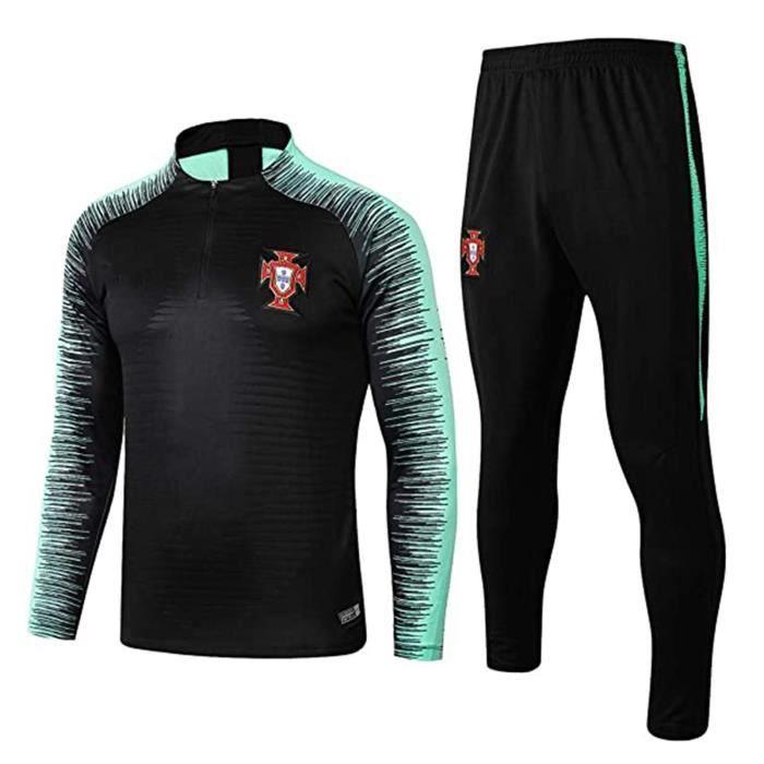 Hommes Automne Hiver Packwork Imprimé Sweat Top Pantalon Ensembles Survêtement Sport Suit Noir