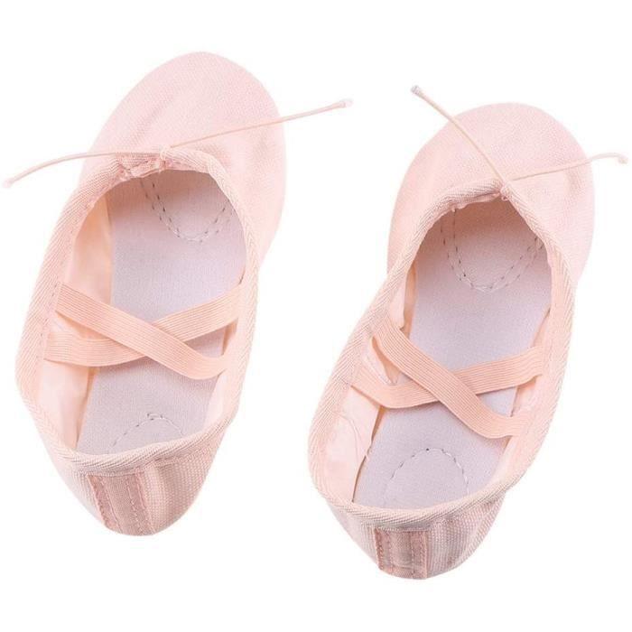 chaussons classiques en toile pour fille - pour danse, gymnastique, yoga - taille 39 (incarnadine)