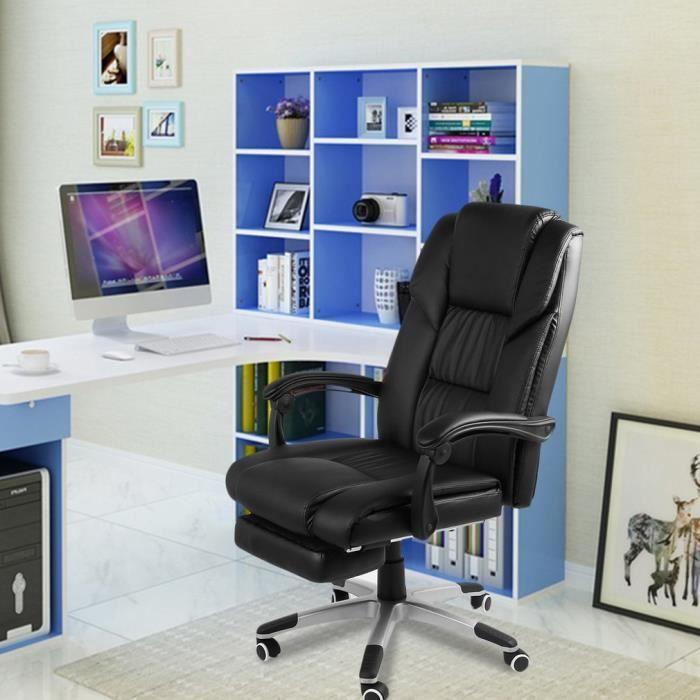 fauteuil pliant inclinable à dossier haut en simili cuir, repose-pieds pivotant, bureau de direction, chaise design ergonomique