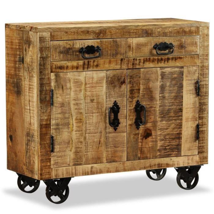 Magnifique Economique Buffet avec 2 tiroirs et 1 armoire Bois de manguier brut