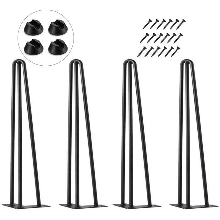 Pieds de table en épingle à cheveux,50cm , lot de 4 Pieds de meubles en métal de bricolage garde-robes tiroirs et table de chevet