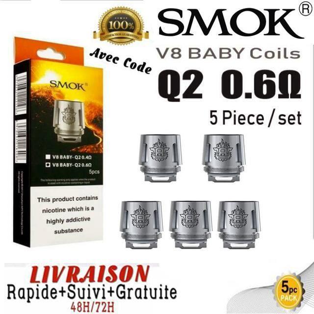 Pack 5 résistances V8 Baby-Q2 Core Smok 0.6 ohm