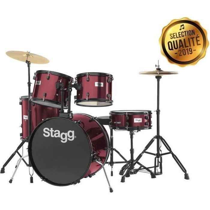 STAGG Kit Complet 5 futs Rouge + cymbales + accessoires