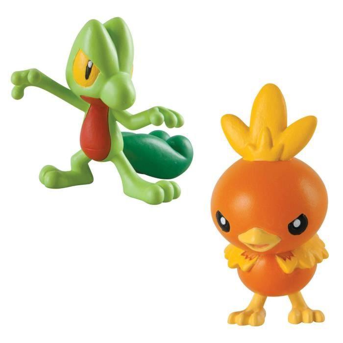 Figurines de Combat Pokemon : Arcko vs Poussifeu aille Unique Coloris Unique